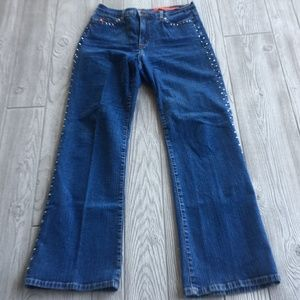 NYDJ Women Jeans Bling Crystals Rhinestone Size 8P